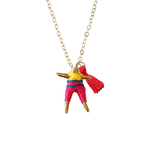 Worry Doll Necklace in FUCHSIA & SUNFLOWER