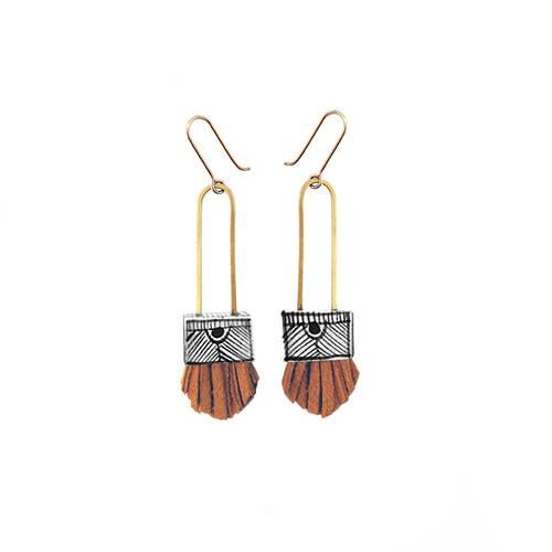 Regalo Shortie Earrings with TURMERIC FRINGE