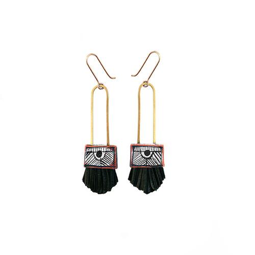 Regalo Shortie Earrings with BLACK FRINGE