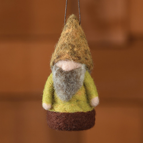 Felt Arctic Woodland Gnome Ornament in Moss Green + Brown