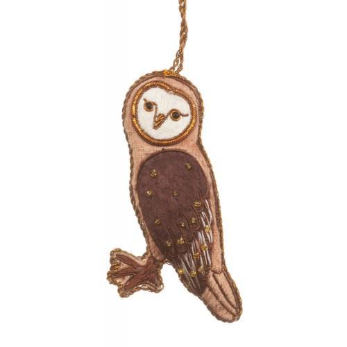 Light Brown Velvet Owl Ornament