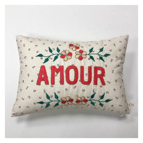 Amour Floral Large Detail Hand Embroidered Cushion Pillow