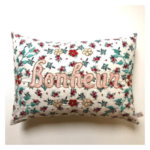Bonheur Floral Hand Embroidered Cushion Pillow