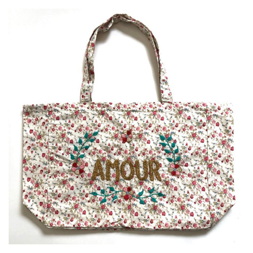 Amour Floral Hand Embroidered Tote Bag