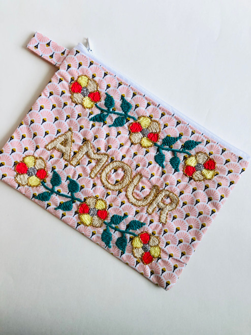 Amour Floral Hand Embroidered Pouch Bag