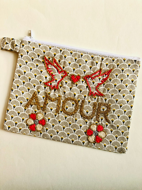 Amour Floral Hand Embroidered Pouch Bag (style birds)