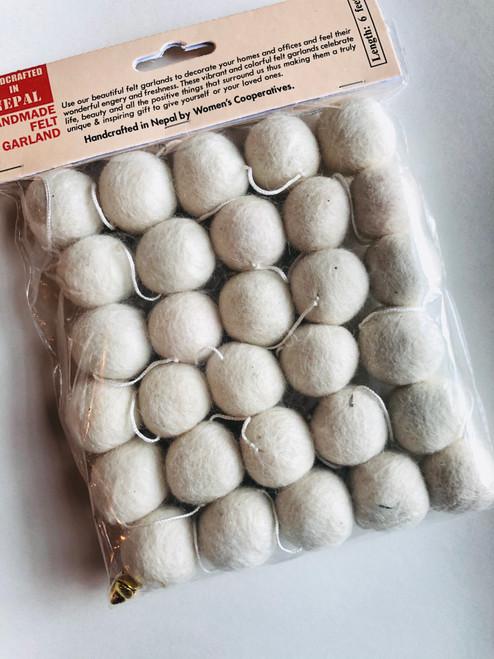 6' Felt Ball Garland in CREAM Handmade in Nepal