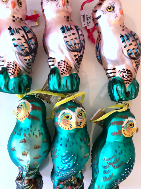 Owl with (Pink or Turquoise) Ornament by Nathalie Lètè