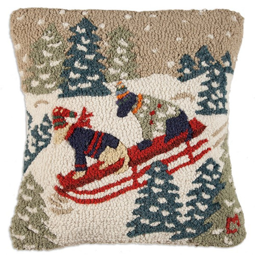 """Daring Dogs Sleigh Ride 18""""x18"""" Hooked Wool Pillow"""