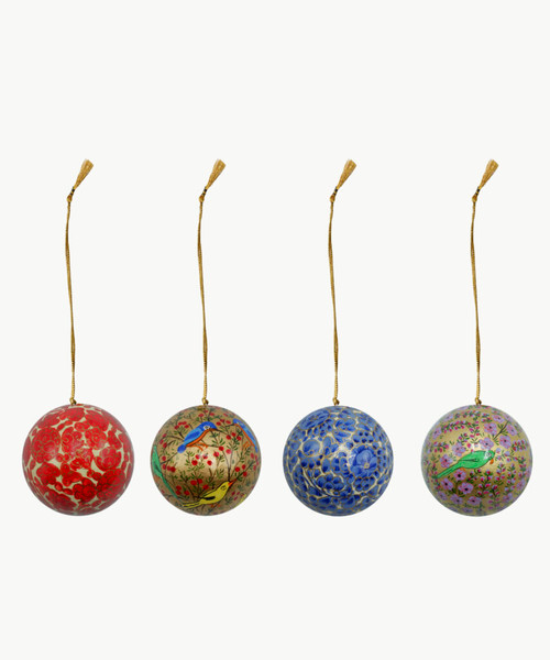 """Handmade Christmas Ornament 3"""" Paper Mache (available single or as a set of four) SET A (large)"""