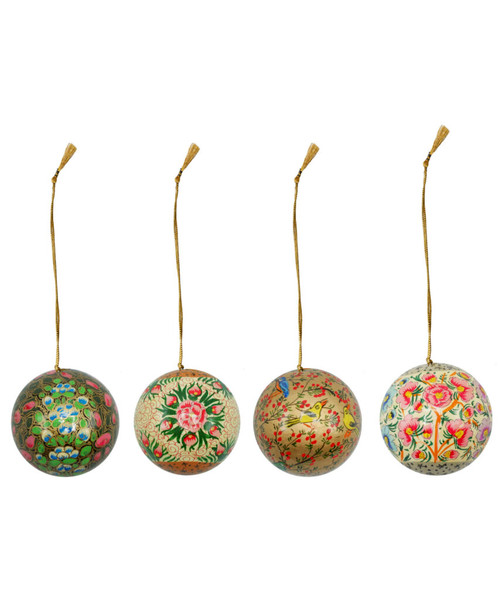 """Handmade Christmas Ornament 3"""" Paper Mache (available single or as a set of four) SET C (large)"""