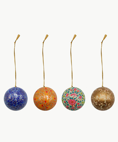 """Handmade Christmas Ornament 3"""" Paper Mache (available single or as a set of four) SET D (large)"""