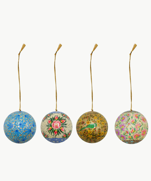 """Handmade Christmas Ornament 3"""" Paper Mache (available single or as a set of four) SET E (large)"""