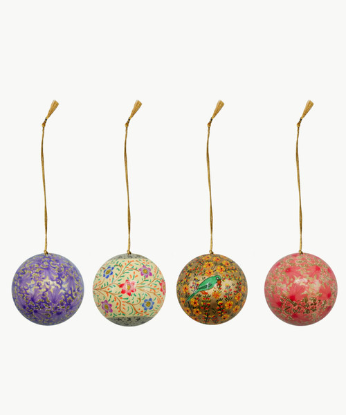 """Handmade Christmas Ornament 3"""" Paper Mache (available single or as a set of four) SET F (large)"""