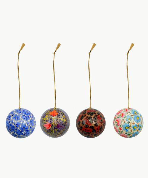 "Handmade Christmas Ornament 2"" Paper Mache (available single or as a set of four) SET G (medium)"
