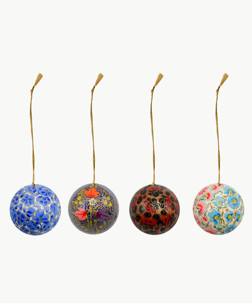 "Handmade Christmas Ornament 2"" Paper Mache (available single or as a set of four) SET G (medium)"