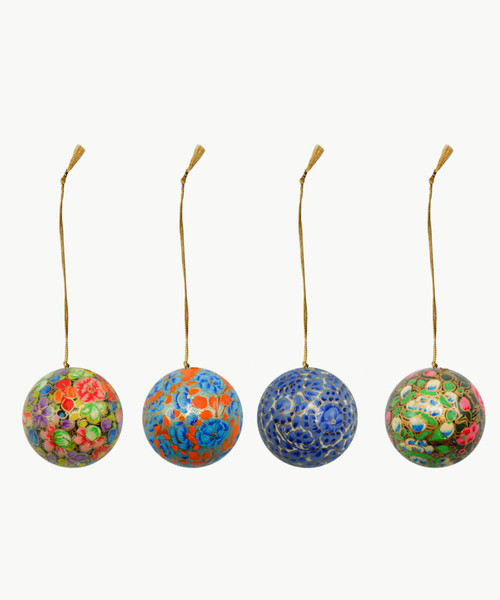 "Handmade Christmas Ornament 2"" Paper Mache (available single or as a set of four) SET H (medium)"