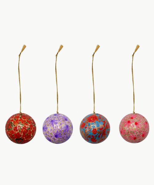 "Handmade Christmas Ornament 2"" Paper Mache (available single or as a set of four) SET I (medium)"