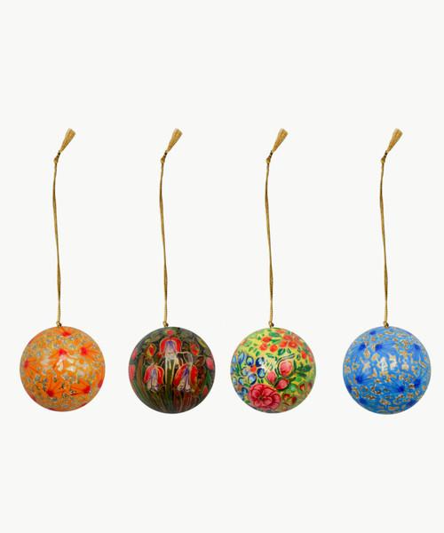 "Handmade Christmas Ornament 2"" Paper Mache (available single or as a set of four) SET J (medium)"