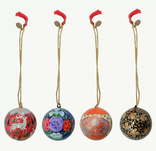 """Handmade Christmas Ornaments 2"""" Paper Mache (only available as set of 4) SET K  (meduim)"""