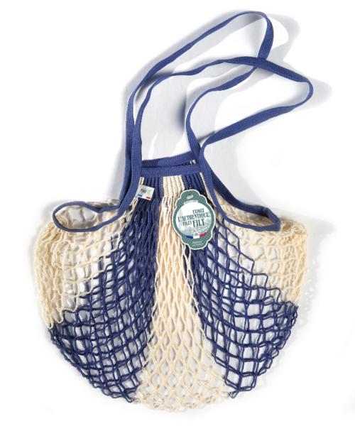 Filt MEDIUM Net Bag (Shopper) in BLUE + WHITE