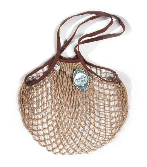 MEDIUM Net Bag (Shopper) in BEIGE WITH BROWN HANDLES