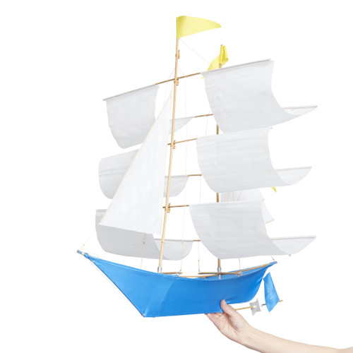 Sailing Ship Kite in BILLY MOON Light Blue with White Sails and Yellow Flags LIMITED EDITION