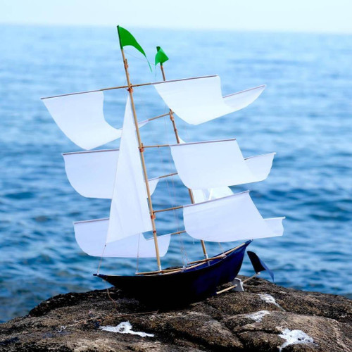 Sailing Ship Kite in ANNE BONNY Navy Blue with White Sails and Green Flags LIMITED EDITION