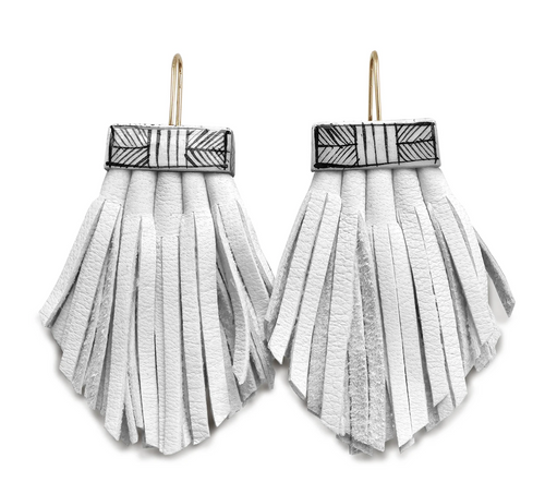 Tassel Cage Earrings in WHITE by Hechizo