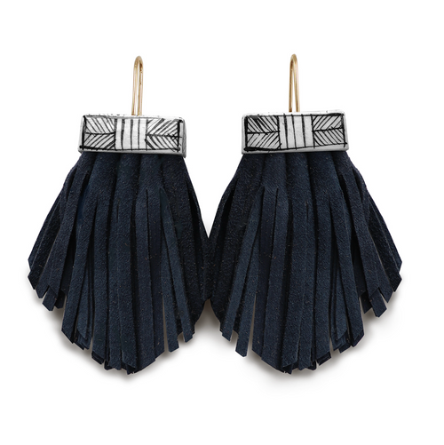 Tassel Cage Earrings in NIGHTSWIMMING BLUE by Hechizo