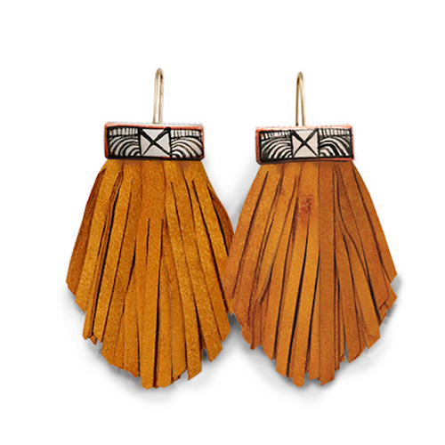 Tassel Cage Earrings in TURMERIC BROWN by Hechizo