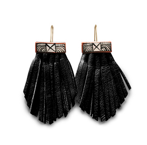 Tassel Cage Earrings in BLACK by Hechizo