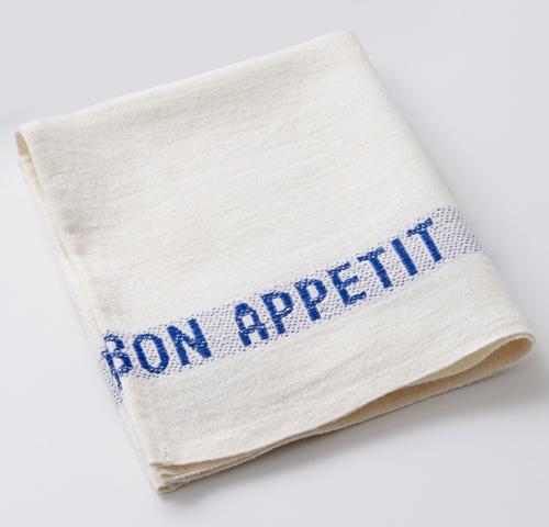 100% Linen Napkins Bon Appetit (Set of 2) in WHITE/BLUE