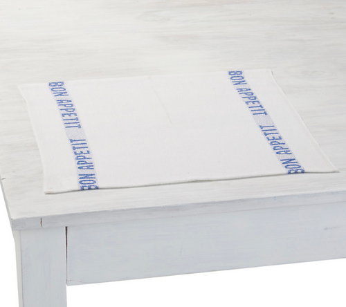 100% Linen Placemats Bon Appetit (Set of 2) in WHITE/BLUE