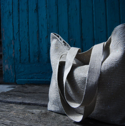 100% Linen Tote in Large STONE