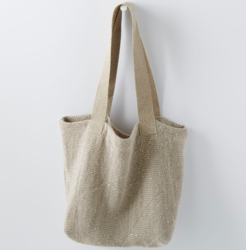 100% Linen Tote in Small STONE