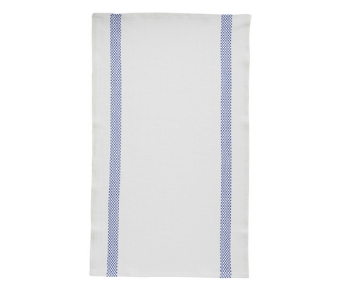 100% Linen Kitchen Tea Towel in Side Check Stripe White/Blue