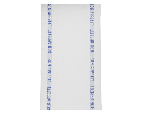 100% Linen Kitchen Tea Towel in Bon Appetit White/Blue