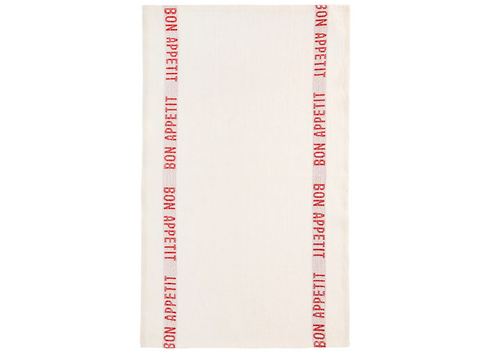 100% Linen Kitchen Tea Towel in Bon Appetit White/Red