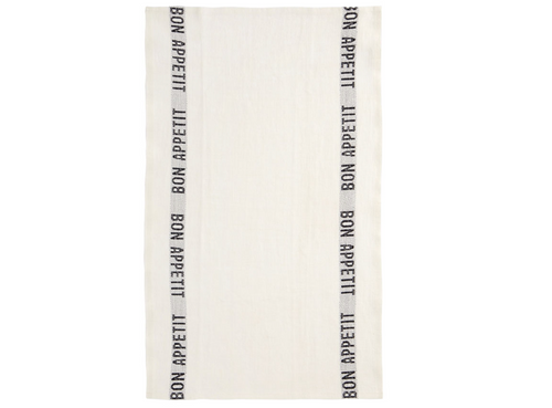 100% Linen Kitchen Tea Towel in Bon Appetit White/Black