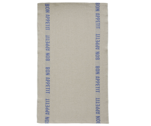 100% Linen Kitchen Tea Towel in Bon Appetit Natural/Blue