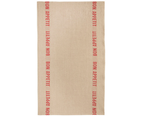 100% Linen Kitchen Tea Towel in Bon Appetit Natural/Red