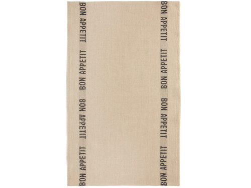 100% Linen Kitchen Tea Towel in Bon Appetit Natural/Black