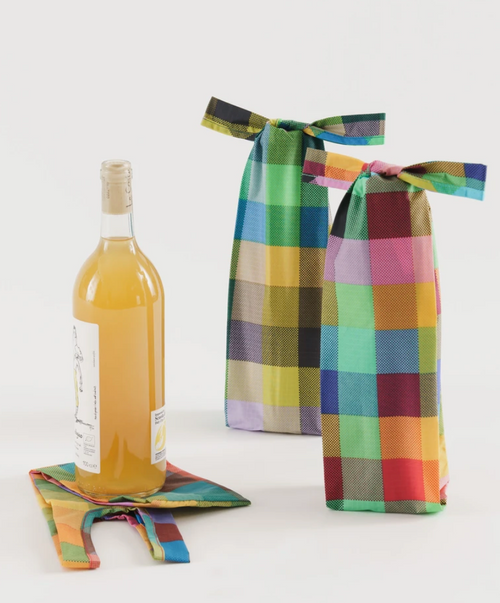 Wine Baggu in Madras Mix (Set of 3 - Includes Three Bags)