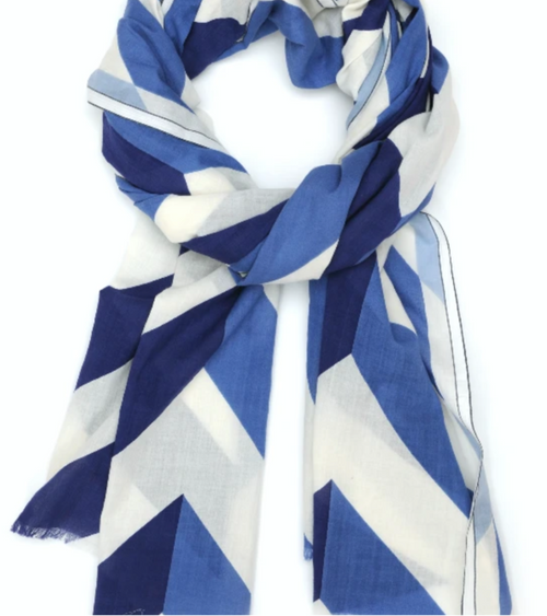 Moismont Dutch Blue CHEVRON Cotton Scarf