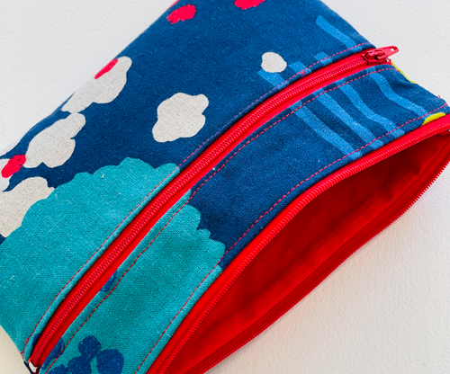 Japanese Linen MEDIUM Zip Pouch BLUES with CREAM + RED accents