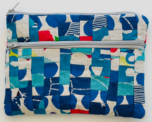 Japanese Linen MEDIUM Zip Pouch LIMITED SPECIAL EDITION PIECEWORK / PATCHWORK in BLUES with CREAM + RED accents