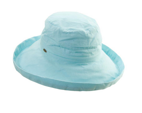 Gianna Cotton Hat (One Size Fits Most) in Seaglass Blue