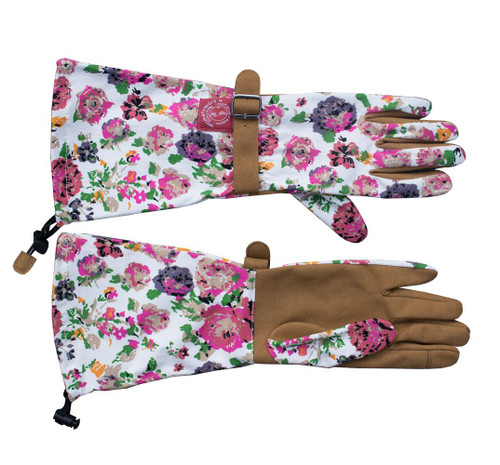 Floral Arm Saver Garden Gloves in Medium