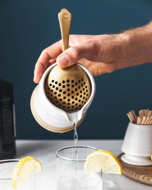 Farmhouse Pottery Essex Julep Cocktail Strainer in Brushed Gold Finish